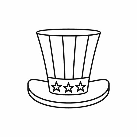 uncle sam hat: Uncle Sam Hat in outline style isolated on white background vector illustration Illustration