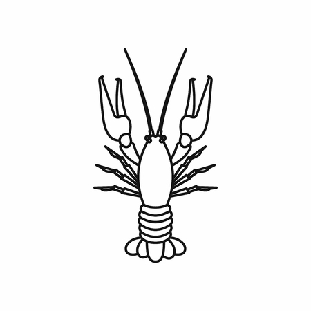 Boiled crawfish in outline style isolated on white background vector illustration