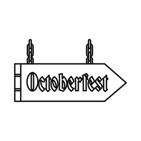 Sign with the word Oktoberfest in outline style isolated on white background vector illustration Illustration