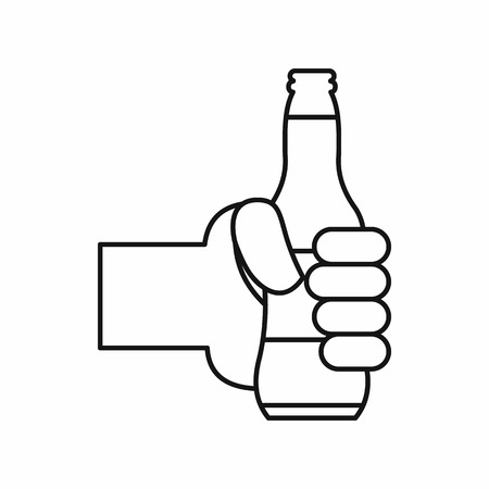 man holding transparent: Hand holding a beer bottle in outline style isolated on white background vector illustration Illustration