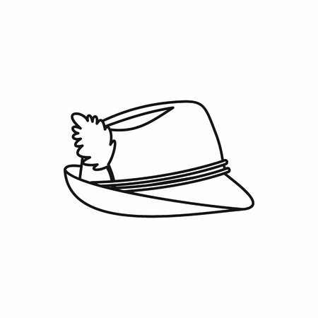 tirol: Oktoberfest tirol hat in outline style isolated on white background vector illustration Illustration