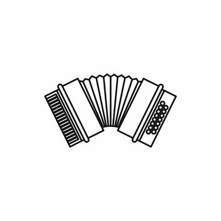 accordion: Accordion in outline style isolated on white background vector illustration