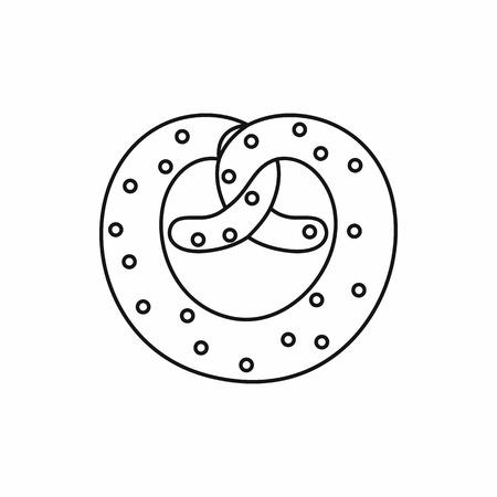 bretzel: Pretzel for Oktoberfest in outline style isolated on white background vector illustration Illustration