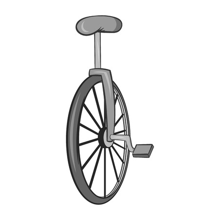 Unicycle icon in black monochrome style isolated on white background. Circus symbol vector illustration Illustration