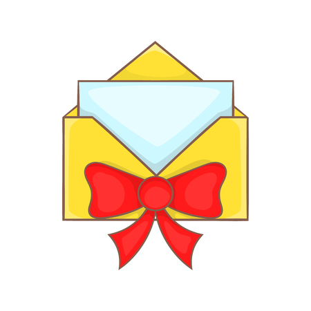 Christmas envelope with ribbon bow in cartoon style isolated on white background vector illustration Illustration
