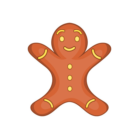Gingerbread man cookie in cartoon style isolated on white background vector illustration Illustration