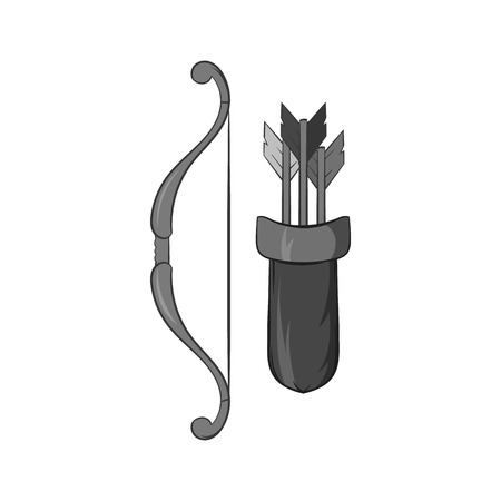 Bow and arrow icon in black monochrome style isolated on white background. Hunting equipment symbol vector illustration
