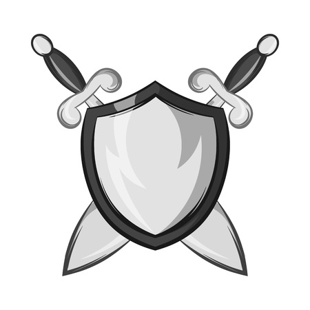 Battle shield with swords icon in black monochrome style isolated on white background. Protection symbol vector illustration Illustration