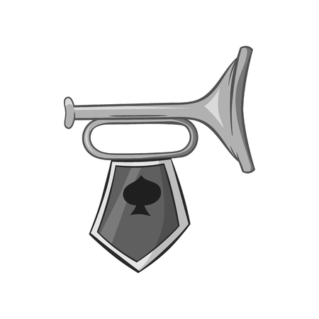 Trumpet with flag icon in black monochrome style isolated on white background. Sound symbol vector illustration Illustration