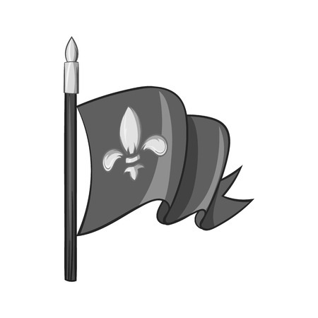 distinction: Medieval knight flag icon in black monochrome style isolated on white background. Distinction symbol vector illustration Illustration