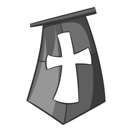 chivalry: Flag of crusaders icon in black monochrome style isolated on white background. Distinction symbol vector illustration