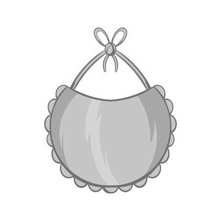 Babero icono de estilo monocromático negro sobre fondo blanco. Childrens atención ilustración vectorial símbolo