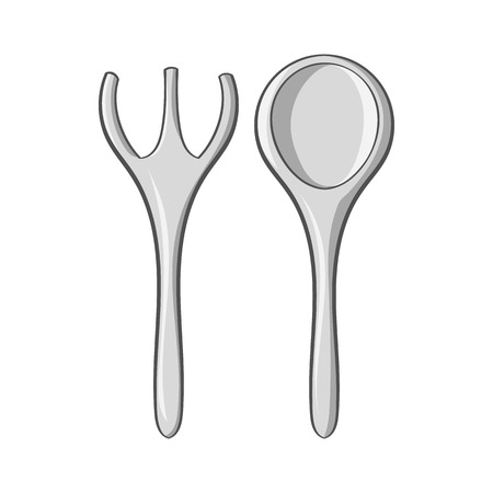 serving utensil: Baby spoon and fork icon in black monochrome style isolated on white background. Child care symbol vector illustration Illustration