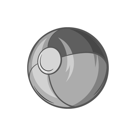 Childrens ball icon in black monochrome style isolated on white background. Childrens toy symbol vector illustration
