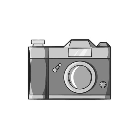 photo shooting: Retro photo camera icon in black monochrome style isolated on white background. Shooting symbol vector illustration