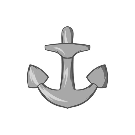 Anchor icon in black monochrome style isolated on white background. Sea symbol vector illustration