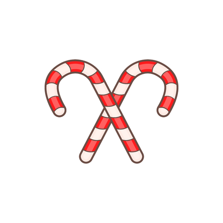 Candy canes for Christmas in cartoon style isolated on white background vector illustration Illustration