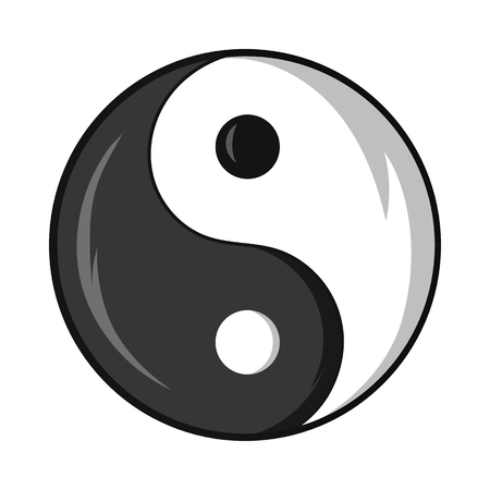 yang style: Sign yin yang icon in black monochrome style isolated on white background. Religion symbol vector illustration