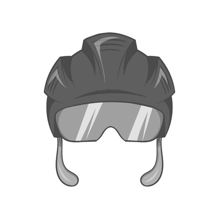 Pilot helmet icon in black monochrome style isolated on white background. Fly symbol vector illustration