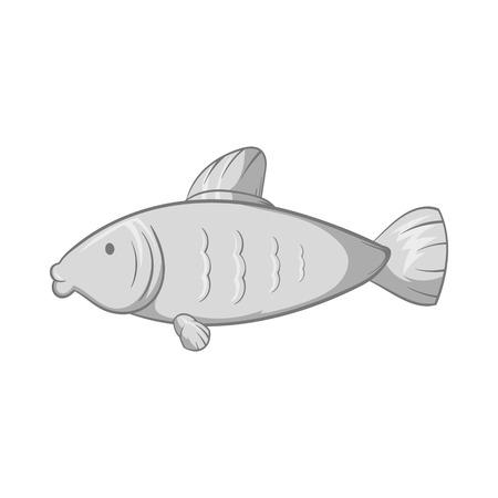 freshwater aquarium fish: Fish icon in black monochrome style isolated on white background. Seafood symbol vector illustration