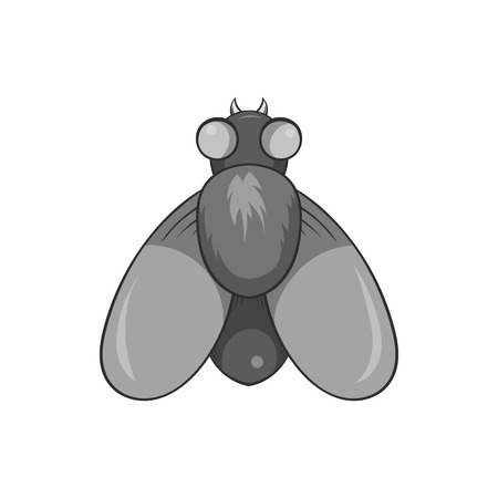 Fly icon in black monochrome style isolated on white background. Insects symbol vector illustration