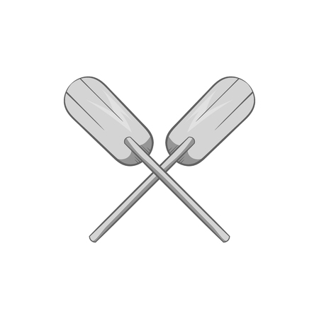 paddles: Paddles icon in black monochrome style isolated on white background. Rowing symbol vector illustration