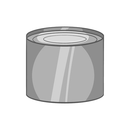 tinned: Tin packaging icon in black monochrome style isolated on white background. Production symbol vector illustration Illustration
