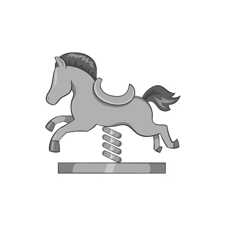 sway: Horse rocking icon in black monochrome style isolated on white background. Toy symbol vector illustration