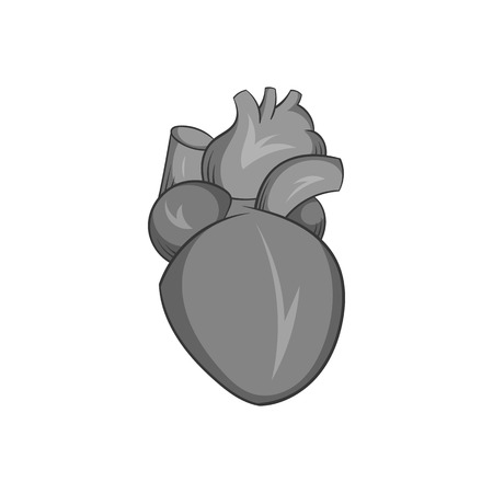 vena: Heart human icon in black monochrome style isolated on white background. Human organs symbol vector illustration