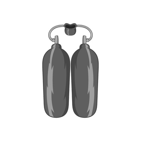 compressed air: Cylinders for diving icon in black monochrome style isolated on white background. Swimming symbol vector illustration Illustration