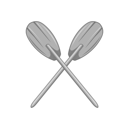 Paddles icon in black monochrome style isolated on white background. Swimming in boat symbol vector illustration