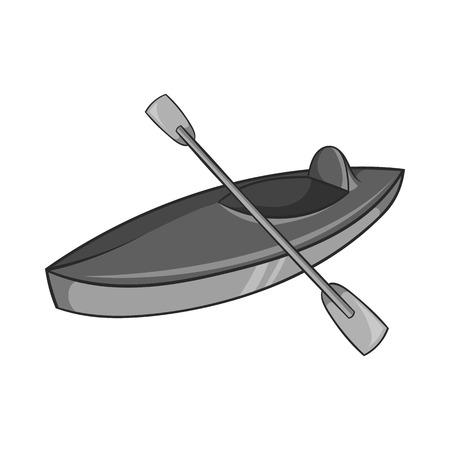 Kayak icon in black monochrome style isolated on white background. Swimming symbol vector illustration Illustration