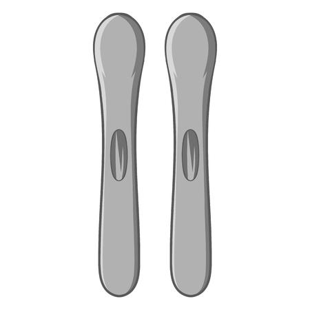 ice slide: Ski icon in black monochrome style isolated on white background. Sport symbol vector illustration