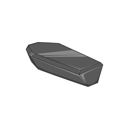 rip: Coffin icon in black monochrome style isolated on white background. Death symbol vector illustration