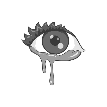 Crying eyes icon in black monochrome style isolated on white background. Tears and sadness symbol vector illustration
