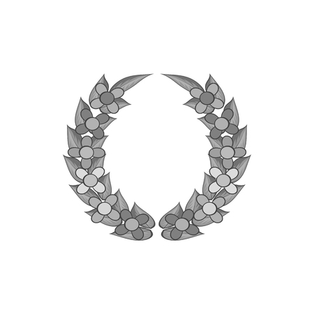 Funeral wreath icon in black monochrome style isolated on white background. Flower symbol vector illustration