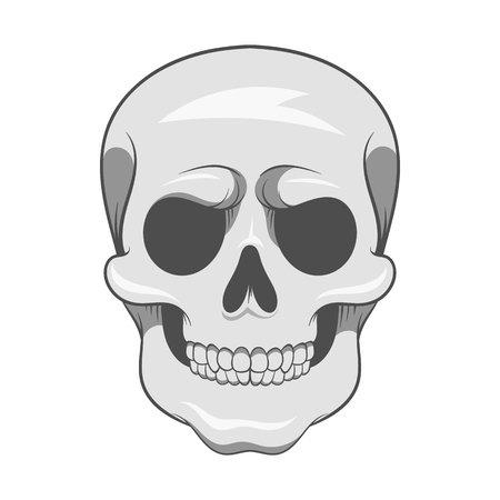 piracy: Skull icon in black monochrome style isolated on white background. Death symbol vector illustration Illustration