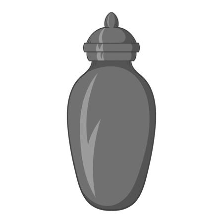 cremated: Urn for ashes icon in black monochrome style isolated on white background. Death symbol vector illustration Illustration