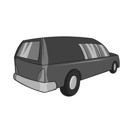 hearse: Hearse icon in black monochrome style isolated on white background. Transport symbol vector illustration
