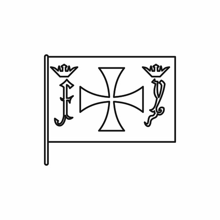 admiral: Columbus capitan flag in outline style isolated on white background vector illustration Illustration