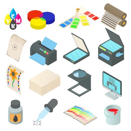 Printing icons set in cartoon style. Printing service set collection vector illustration Illustration