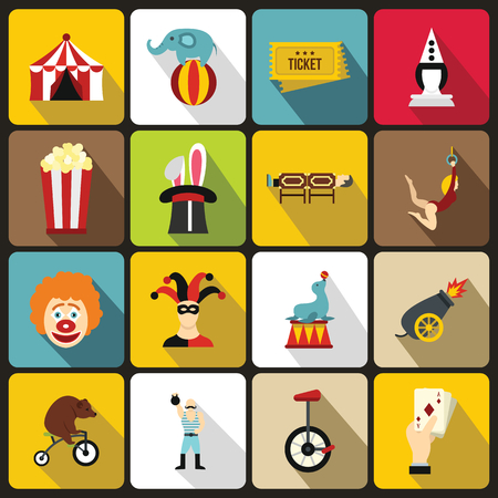 manege: Circus entertainment icons set in flat style. Circus animals and characters set collection vector illustration