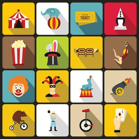 Circus Entertainment-Symbole in flachen Stil. Zirkustiere und Zeichen gesetzt Sammlung Vektor-Illustration