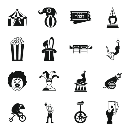 manege: Circus entertainment icons set in simple style. Circus animals and characters set collection vector illustration