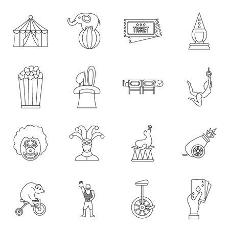 pierrot: Circus entertainment icons set in outline style. Circus animals and characters set collection vector illustration