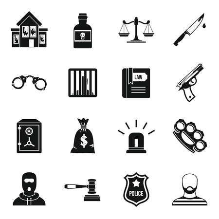 punishment: Crime and punishment icons set in simple style. Law and order set collection vector illustration