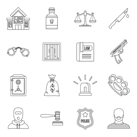 punishment: Crime and punishment icons set in outline style. Law and order set collection vector illustration