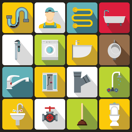 sanitary engineering: Plumbing icons set in flat style. Sanitary equipment set collection vector illustration Illustration