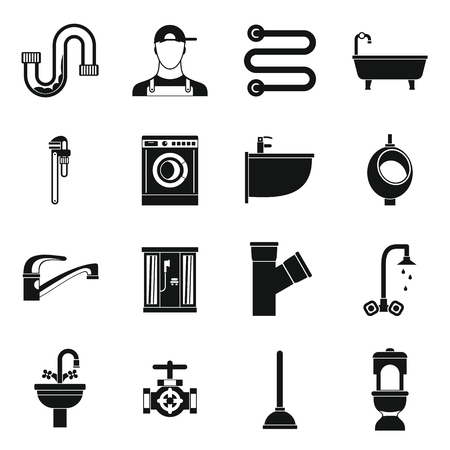 tube wrench: Plumbing icons set in simple style. Sanitary equipment set collection vector illustration Illustration
