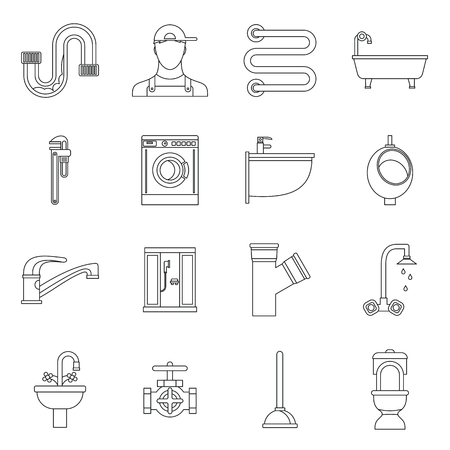 sanitary engineering: Plumbing icons set in outline style. Sanitary equipment set collection vector illustration
